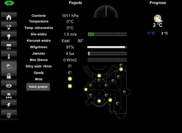 Zobacz Systemy KNX i Crestron – wspólne sterowanie oświetleniem, roletami, ogrzewaniem i klimatyzacją - crestron ekran pogody 600x438